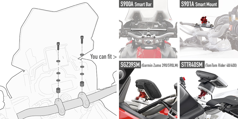 Givi - Kit de fixation spécifique pour S900A Smart Bar, ou le support S901A Smart Mount