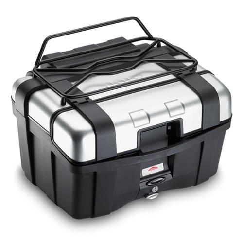 Givi - Portapaquetes metálico (negro), más pequeño del E120, utiliza los mismos agujeros. Permite la apertura de la ventanilla de la maleta para TRK46 / TRK33