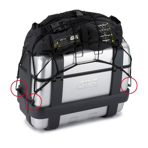 Givi - Kit di quattro anelli per l\'ancoraggio della rete elastica T10N. Vanno fissati alle valigie praticando quattro fori ø10mm