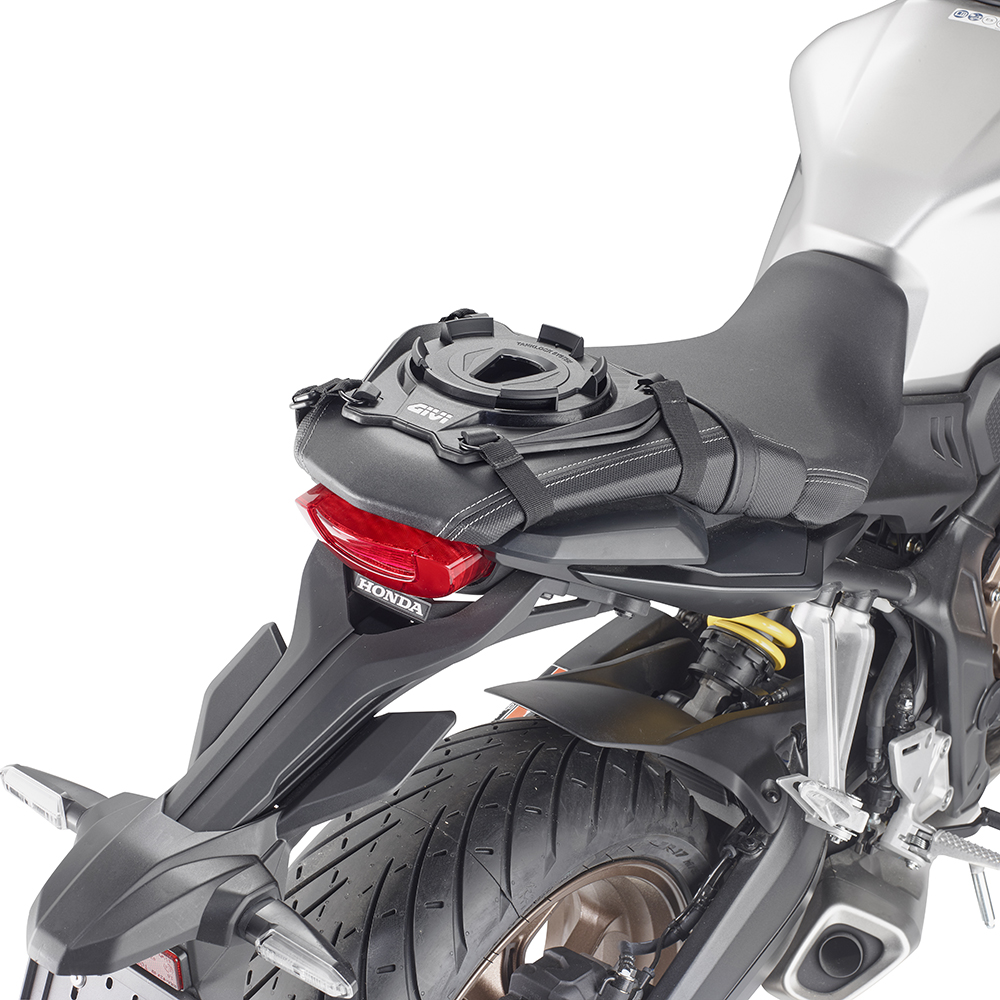 Givi - Base with universal retaining system to be used with a Tanklock bag or a TanklockED bag on the passenger portion of the seat.