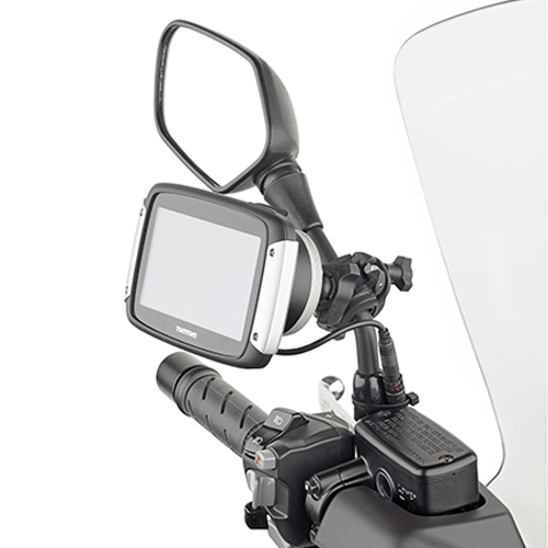 Givi - Universal support to mount either the GPS Tom Tom Rider (40, 400, 410, II, 42, 420, 450, 500, 550) on tubular handlebars or on the stalk of a rearview mirror