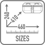 Maleta Monokey Trekker Dolomiti en aluminio natural, 30 Lts. Utilizable ya sea como maleta central (compatible con todas las parrillas Monokey), que como maleta lateral (compatible con los soportes laterales